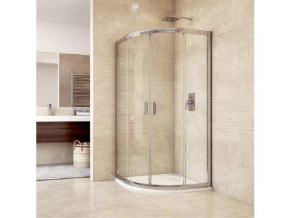 Sprchový kout Mistica, čtvrtkruh, 90x90x190 cm, chrom ALU