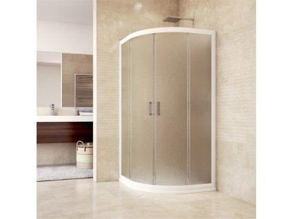 Sprchový kout, Mistica, čtvrtkruh, R550, bílý ALU