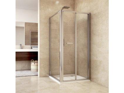 Sprchový kout, Mistica, čtverec, chrom ALU, dveře zalamovací