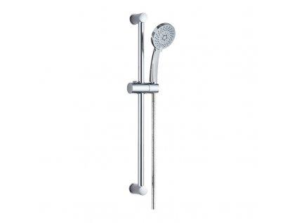 Sprchová souprava, pětipolohová sprcha, spirálová černá hadice, stavitelný držák, plast/chrom