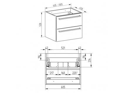 Bino koupelnová skříňka s umyvadlem z litého mramoru 60 cm