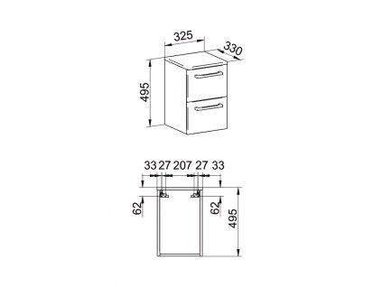 Bino koupelnová skříňka spodní, 2 zásuvky