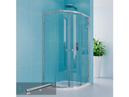 Sprchový set se sprchovou vaničkou nebo žlabem, čtvrtkruh, 90 cm, chrom, čiré