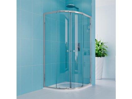 Sprchový kout, Kora Lite, čtvrtkruh, 90 cm, R550, chrom ALU, sklo Čiré
