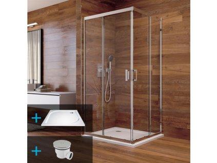 Sprchový kout, LIMA, čtverec, chrom ALU, sklo Čiré a Point