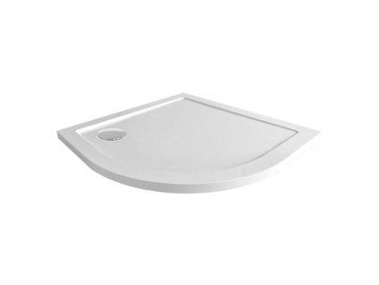 Čtvrtkruhová sprchová vanička R550, 90x90x4 cm, SMC, bílá, včetně sifonu