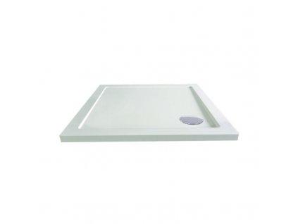 Čtvercová sprchová vanička, 90x90x4 cm, SMC, bílá, včetně sifonu