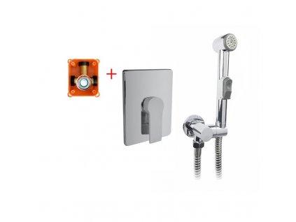 Podomítková baterie s bidetovou sprchou, Dita, Mbox, hranatý kryt, chrom