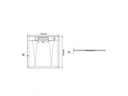 Čtvercová sprchová vanička s hranatým krytem sif., 90x90x3 cm, vč. sif., bez nožiček, litý mramor
