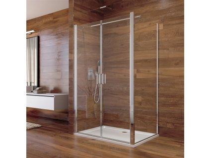 Sprchový kout, Lima, obdélník, lítací dveře a pevný díl, chrom ALU, sklo Čiré