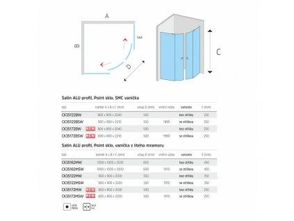 Sprchový box, čtvrtkruh, R550, satin ALU, sklo Point, zadní stěny bílé