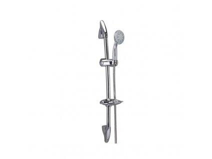 Sprchová souprava, třípolohová sprcha,dvouzámková nerez hadice, stavit. držák, mýdlenka, plast/chrom