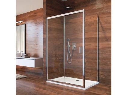 Sprchový kout, Lima, čtverec, zasunovací dveře a pevný díl, L/P, chrom ALU