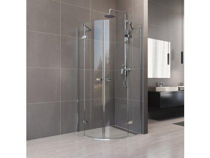 Novea sprchový kout, R 550, 90x90x200 cm, pantový, chrom ALU, sklo čiré 6 mm, EC
