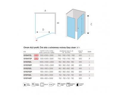 Sprchový kout, Novea, čtverec, chrom ALU, sklo Čiré, dveře a pevný díl