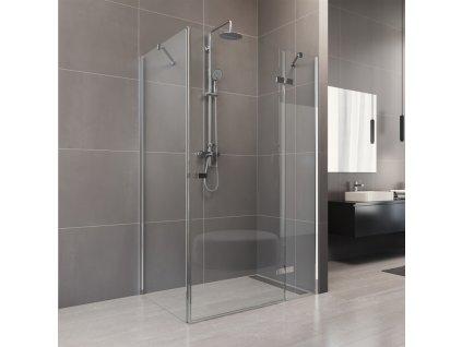 Sprchový kout, Novea, obdélník, chrom ALU, sklo Čiré, dveře a pevný díl