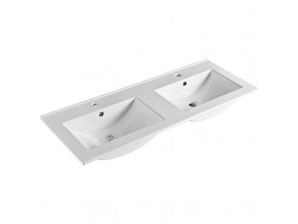 Aira, koupelnová skříňka s keramický umyvadlem 120 cm, bílá, dub, šedá
