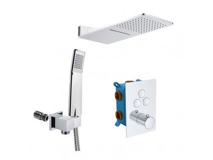 Sprchová sada s termostatickou podomítkovou tlačítkovou baterií - 3-cestná - hranatý kryt