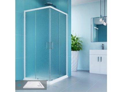 Kora sprchový set: čtvercový kout 90 cm, vanička, sifon