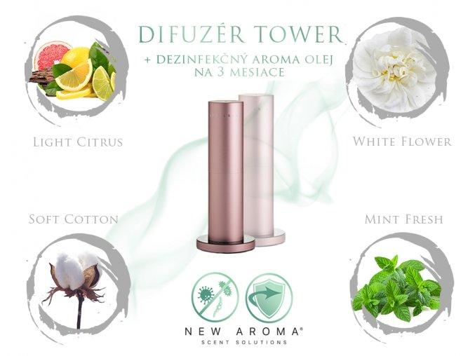 dizajnova sada difuzer rose gold dezinfekcny olej
