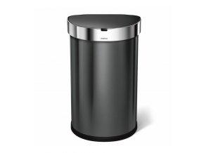 bezdotykový odpadkový kôš Simplehuman 45l , pologulaty, čierná oceľ, kapsa na vrecká