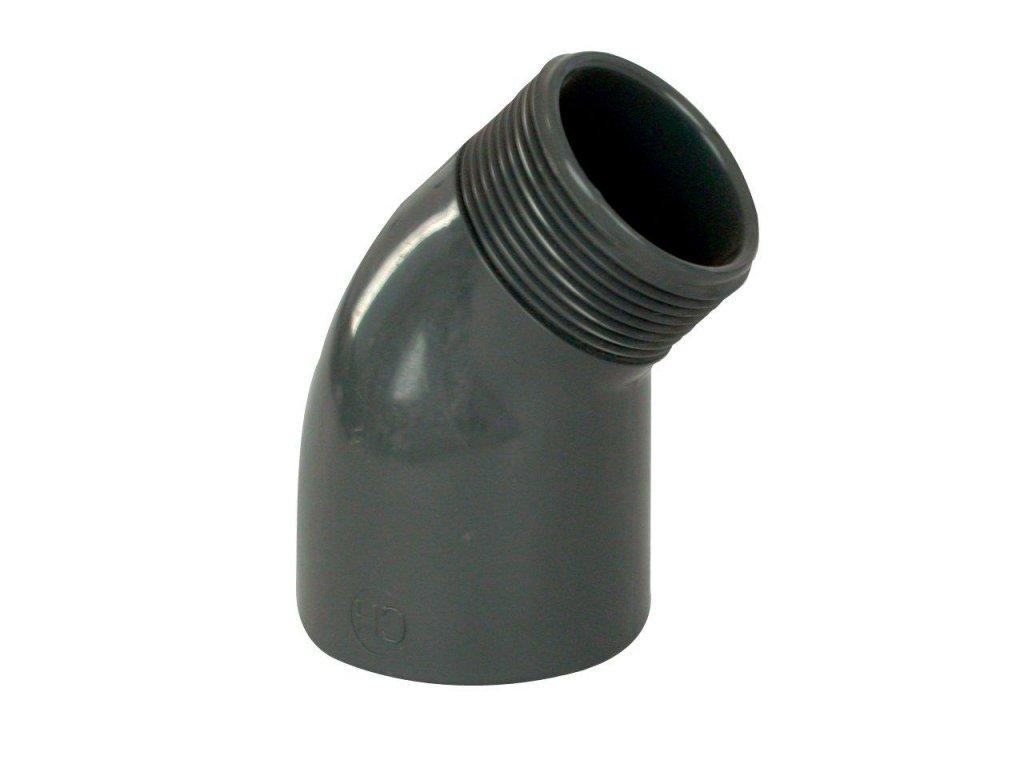 """PVC tvarovka - Úhel 45° 50 x 1 1/2"""" ext."""