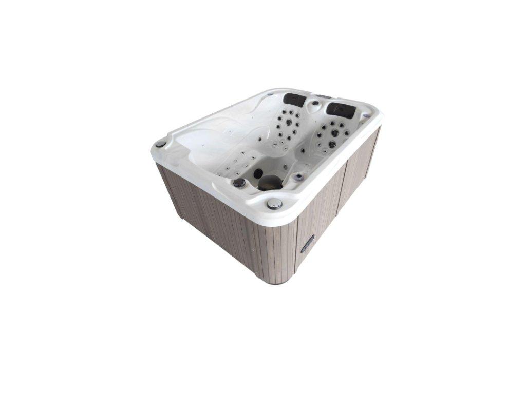 Vířivá vana GEMINI mramor (sterling silver) / šedý panel / šedý termokryt