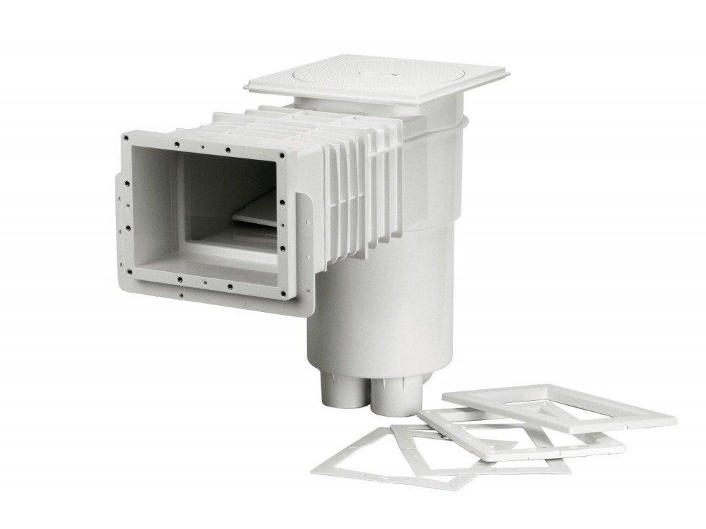 Skimmer VA,sání 215 x 160 mm,pro fólie,prodlouž. hrdlo,mosaz. zástřiky