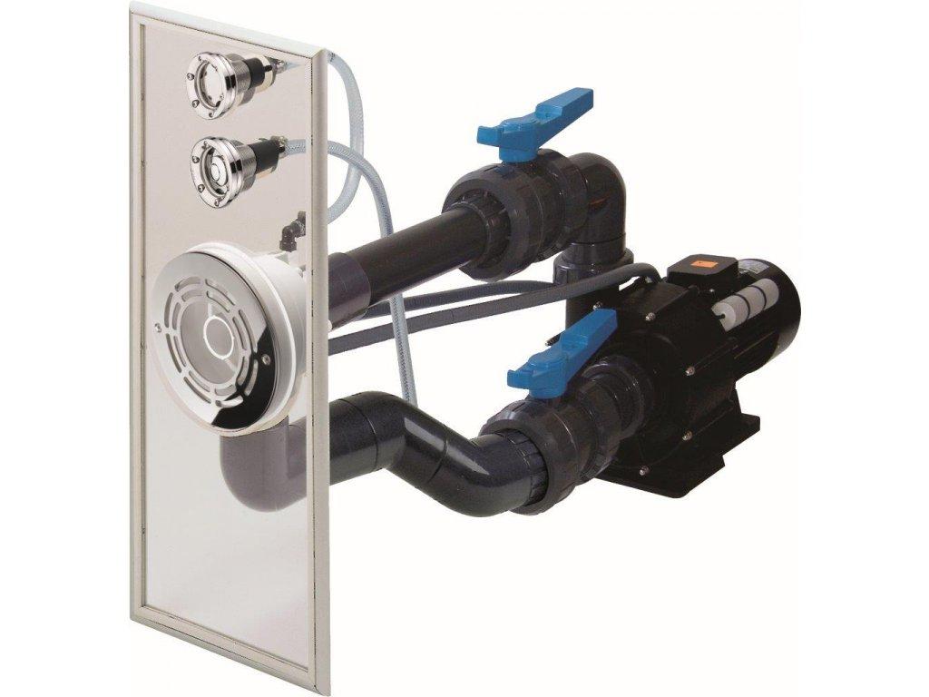 Předmontovaná sestava VAG-JET NEREZ, do fólie (průchod stěnou, čelo protiproudu, ventily, fitinky)