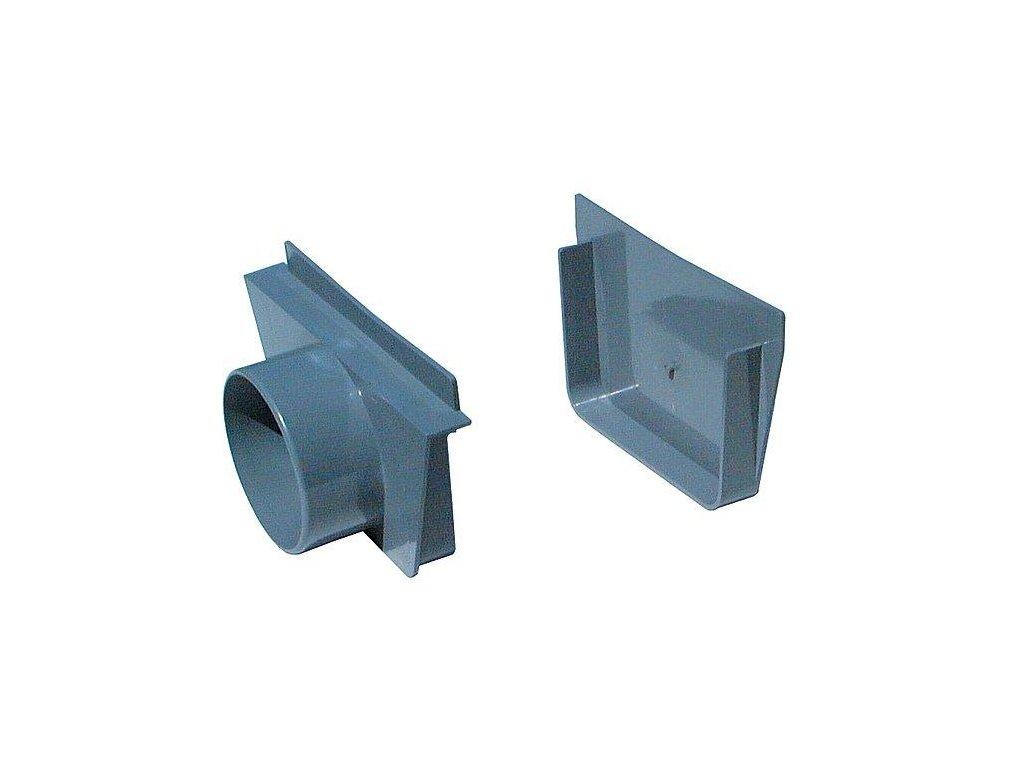 Přelivový žlábek - Koncovka vnitřní + vnější PVC s výpustí