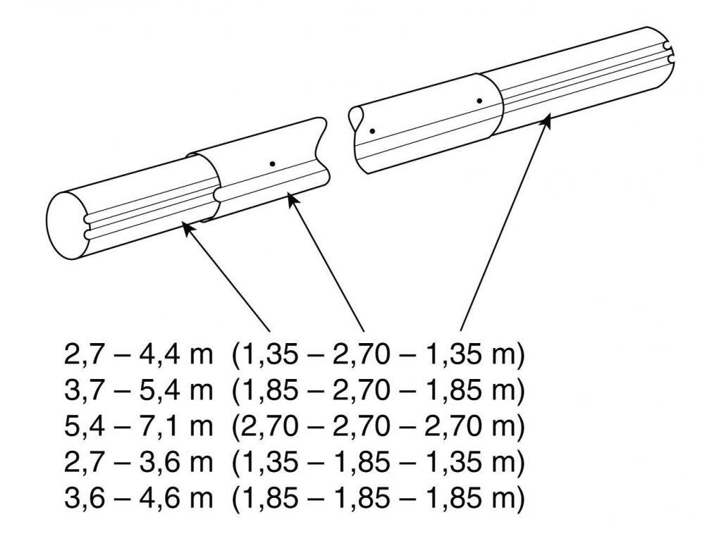 Teleskop. navíjecí tyč - délka: 5,4–7,1 m (eloxovaný hliník)