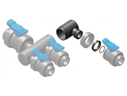 Sběrací potrubí - nástavec sběrače – 1x přímé napojení ventilu 50 mm