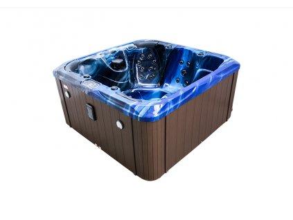Vířivá vana DAPHNE modrá (summer sapphire)  hnědý panel  hnědý termokryt
