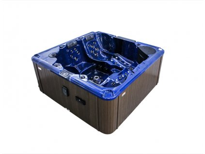 Vířivá vana KLEOPATRA modrá (summer sapphire) / hnědý panel / hnědý termokryt