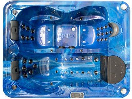 Vířivá vana KORA (78,5 cm) modrá (summer sapphire) / hnědý panel / hnědý termokryt