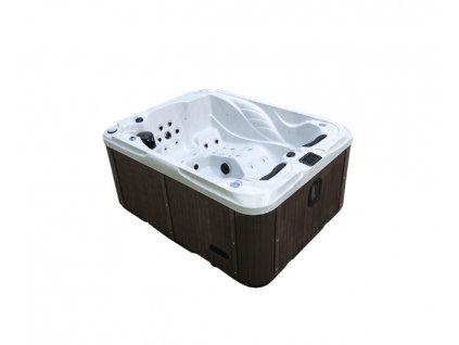 Vířivá vana GEMINI mramor (sterling silver) / hnědý panel / hnědý termokryt