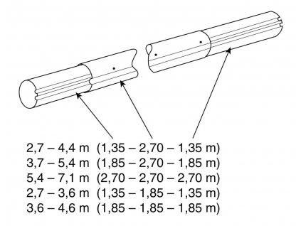 Teleskop. navíjecí tyč - délka: 3,7–5,4 m (eloxovaný hliník)