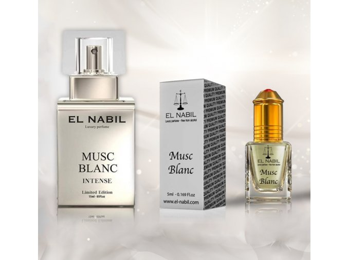 Musc Blanc Intense parfémová voda a Musc Blanc parfémový olej El Nabil