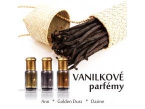 Sada tří vanilkových parfémů 3 x 3 ml pro ženy - Ann, Golden Dust, Darine