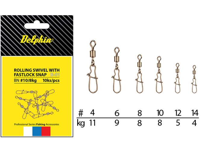 Rolling Swivel with Fastlock Snap B-01 (VARIANT BN/8)