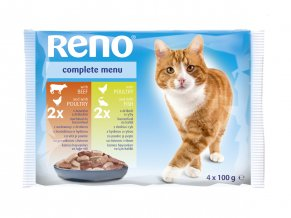 reno cat pouch 4x100g cat with beef and poultry poultry and fish in gravy cl1