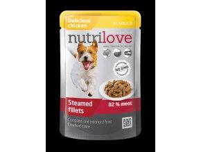 nutrilove pouch dog chicken in sauce 85g
