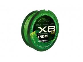 Mistrall Shiro Silk X8 150m-zelená (priemer 0,17 mm)