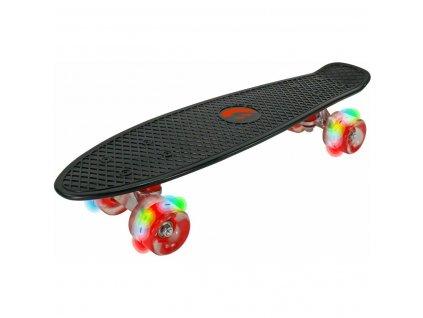 Plastový skateboard BEST SPORTING 56 cm černý LED