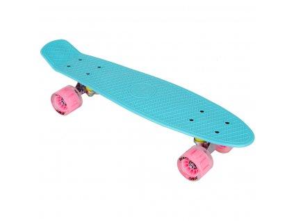 Plastový skateboard 56 cm Enero mátový LED