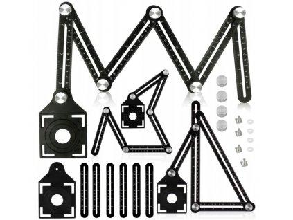 Stavební pravítko (6-stranné) a šablony na vrtání do obkladů, V07155, TA4104