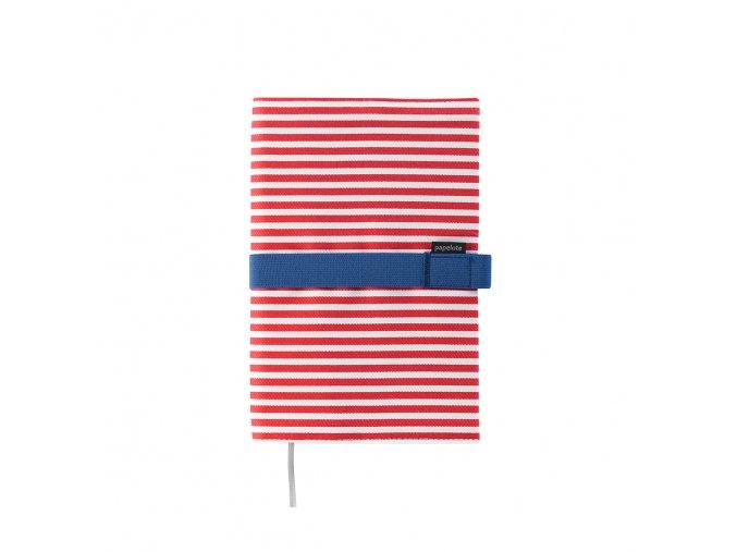 Cestovní deník Papelote červený proužek s modrou gumičkou