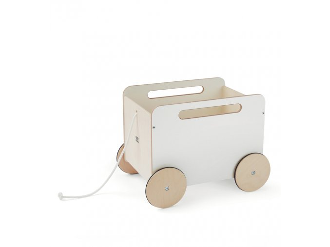 Dřevěný vozík na hračky bílý Ooh noo