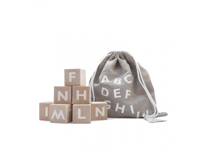 Dřevěné kostky abeceda ooh noo bílé