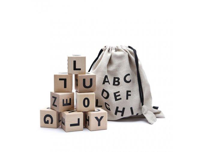 Dřevěné kostky abeceda ooh noo černé